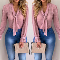 Women Bow Tie Neck Chiffon Long Sleeve Blouse Tops Casual Office Work Shirts LO