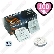 100 X Renata 364 Svizzera Argento Orologio Di Ossido Batterie Sr621 Ag4 Sr626sw