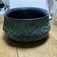 Vintage GREEN Pompadour USA Planter Ivy Pattern Texture made in USA