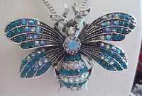 BETSEY JOHNSON BEAUTIFUL AQUA & BLUE CRYSTAL BEE PENDANT CHAIN NECKLACE