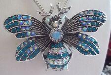 BETSEY JOHNSON BEAUTIFUL AQUA & BLUE CRYSTAL BEE PENDANT CHAIN NECKLACE