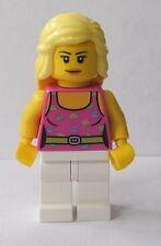 NEW Lego Minifig Female CITY GIRL w/Pink Tank Top Long Blonde Hair White Legs