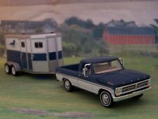 1972 FORD F-100 PICKUP TANDEM HORSE TRAILER FARM COLLECTIBLE 1/64 DIORAMA MODELS