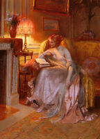 """Dream-art Oil painting nice young woman reading book under the lamp at night 36"""""""