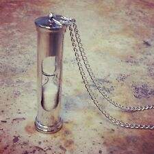 HOT SALE Vintage Style Silver Sand Timer Hour Glass Hourglass Pendant & Necklace