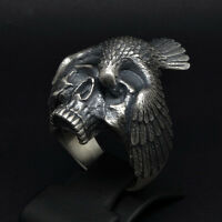 Memento Mori Skull Raven Gothic Biker Ring Sterling Silver 925 Size by UNIQABLE