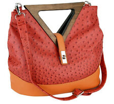 Red & Orange Ostrich Triangle Wood Handle Tote Purse Shoulder Bag, Large - NEW