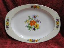 "Thun Thu71 Floral Rim & Center, Cream Band: Oval Serving Platter, 12"" x 8.5"""