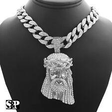 "Hip Hop JESUS HEAD w/ 18"" Full Iced Miami Cuban Choker Chain Bling Necklace Set"