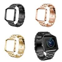 For Fitbit Blaze Tracker Stainless Steel Metal Strap Watch Band+Frame Wristband
