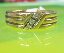 AF1 Beautiful 14K Yellow GOLD Wedding Band RING w/ 3 DIAMOND size 7.5 unisex