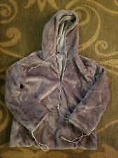 NEW Simple Plain Long Sleeve Taupe Faux Fur/Fluffy Pullover Hoodie Quarter Zip L