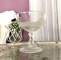 Antik Brockwitz Jugendstil Pressglas Fußschale  Schale Zuckerschale Glas