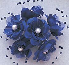 "1.5"" SILK FLOWERS WITH PEARL - PACK OF 12PCS -  COLOR  DARK BLUE"