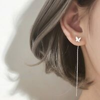 Charm 925 Silver Long Ear Threader Earrings Butterfly Stud Drop Dangle Women Hot