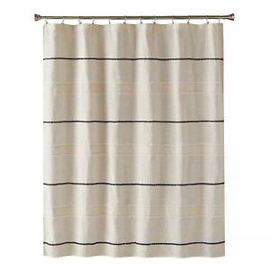 Frayser Shower Curtain Farmhouse Linen Taupe Khaki/Black Stripe - SKL Home