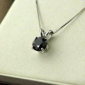 "1.00 Ct Round Cut Black Diamond Solitaire Pendant W/18"" 14k White Gold Finish"