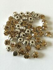 ***New 10 Beautiful vintage Swarovski round Crystal sew on Stones Beads 6mm**