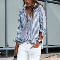 Fashion Women's Summer Striped Shirt Long Sleeve Loose Casual Blouse Cotton Tops