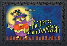 """Halloween Owl Primitive Doormat Spooky Holiday Indoor Outdoor 18"""" x 30"""""""