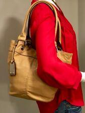 TIGNANELLO Leather Bucket Style Shoulder Bag, Satchel, Tote, Hobo, Purse Carmel