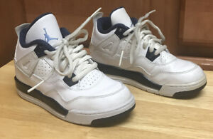 Jordan 4 Retro LS Legend 707430-107 White Navy Blue Boys Shoes Size 11.5C