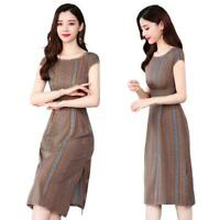 Round Collar Retro Floral Stripe Women Lady A-line Dress Slim Slit Midi Dresses