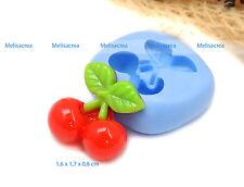 Moule silicone cerise 1,7x0,8cm - Fimo, porcelaine, plâtre, résine, pâte à sucre