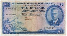 BRITISH CARIBBEAN TERRITORIES $2 KGVI Dated 1951 Fine/VF - Rare