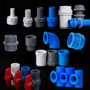 PVC Water Supply Pipe BSP Threaded Fittings Adapter Joint Various Sizes - 3Color