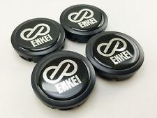 CENTER WHEELS CAPS 4 Black LOGO Resin ENKEI Silver Letter Size 56mm. Car Racing