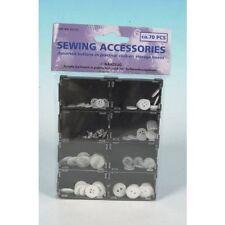 70pc Boton de costura Kit-Caja de plástico-simple diario Botones-Blanco Negro