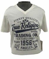 True Religion Jeans Mens Tee V-Neck White Logo T-Shirt Shirt Top NWOT XL