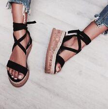 Womens Lace Tie up Sandals Ladies Flat Wedge Espadrille Platform Summer Shoes
