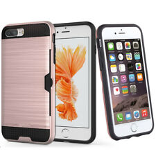 Case Bumper Cover For Apple iPhone 5 5s SE 6 7 8 Plus Card Slot Brushed Metal PC