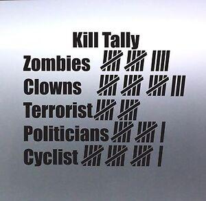 Kill tally clowns Zombie Politicians Terrorist Cyclist car Sticker 105 x 130 mm