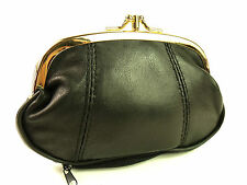 LADIES GIRLS QUALITY SUPER SOFT BLACK GENUINE LEATHER COIN PURSE POUCH WALLET