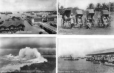 Ceylon Columbo 4 postcards Rickshaws Harbour Monsoon Wave RP