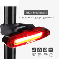 LED USB Rechargeable Bicycle Bike Cycling Rear Tail Light 5 Modes Flashlight US