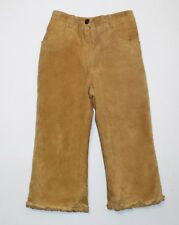 """Gymboree """"Glamour Kitty"""" Vintage Lined Tan Leather Suede Ruffled Pants, 3T"""