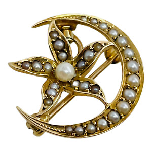 """Art Nouveau 14k Yellow Gold Pearl Half Moon and Flower Pin Pendant 13/16"""""""