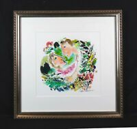 Vintage Abstract Modern Art Japanese Watercolor Painting Romantic Yasuo Araki