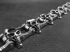 Handmade Silver SKULL Bracelet Bike Chain for Harley Davidson 1% ER Biker 177