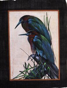 Handmade Bird Painting On Silk Cloth Ethnic Wildlife Nature Art