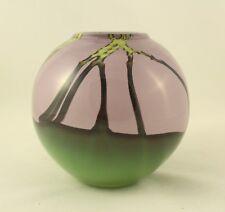 "Dutch Schulze Green Purple And Vines Round Vase Vessel Signed ""Schulze 84"""