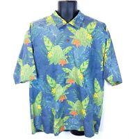 Tommy Bahama Men's Large Blue Floral Hawaiian 100% Silk Camp S/S Shirt L EUC