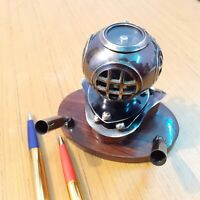 Antique Brass Pen Holder Diving Helmet With Compass Beautiful Table Top Item
