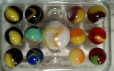 12 Vintage Corkscrew Marbles 2+ Multi Colored Interesting Lot & 1 Shooter
