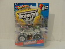 """Hot Wheels Monster Jam """"GRAVE DIGGER"""" (White Base)2013  SPECIAL HOLIDAY EDITION!"""