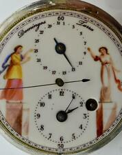 MUSEUM silver Verge Fusee CALENDAR Doctor's Memento Mori watch.Fancy dial.+Chain